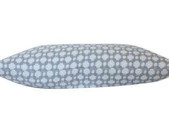 Double Sided Schumacher Betwixt Pillow Cover in Zinc, SIlver Grey