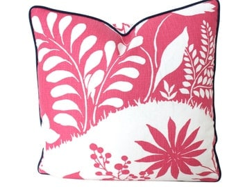 Schumacher Fuchsia and White Linen Pillow Cover with Piping
