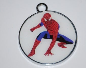 Superman Spiderman Enamel Clip Charm, zipper pull, backpack, cell phone, purse clip, jewelry, party favors or scrapbooking