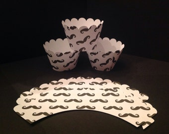 12 Mustache Birthday Party Cupcake Wrappers