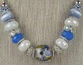 BABY BLUE BLUSH: European Style Large Hole Bead Porcelain Blue Baby Blue Necklace