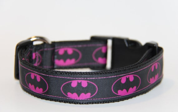 Handmade Pink Batman Dog Collar, FREE SHIPPING, batgirl dog collar, bat signal