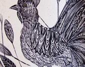 Rooster Ink Drawing Bird Painting Ink Black Bird Chicken Nature Rooster Wall Art Rooster Fine Art Contemporary Art Bird Ink Animal Art Decor