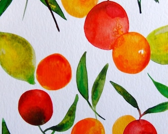 Fruits Wall Art Fruits Watercolor Citrus Kitchen Decor Kitchen Art Orange Lemons Yellow Green Original Watercolor Fruits Fine Art Home Decor