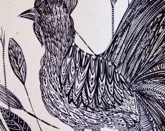 Rooster Ink Drawing Bird Painting Ink Black Bird Chicken Nature Rooster Wall Art Rooster Fine Art Contemporary Art Bird Ink Animal Art Decor