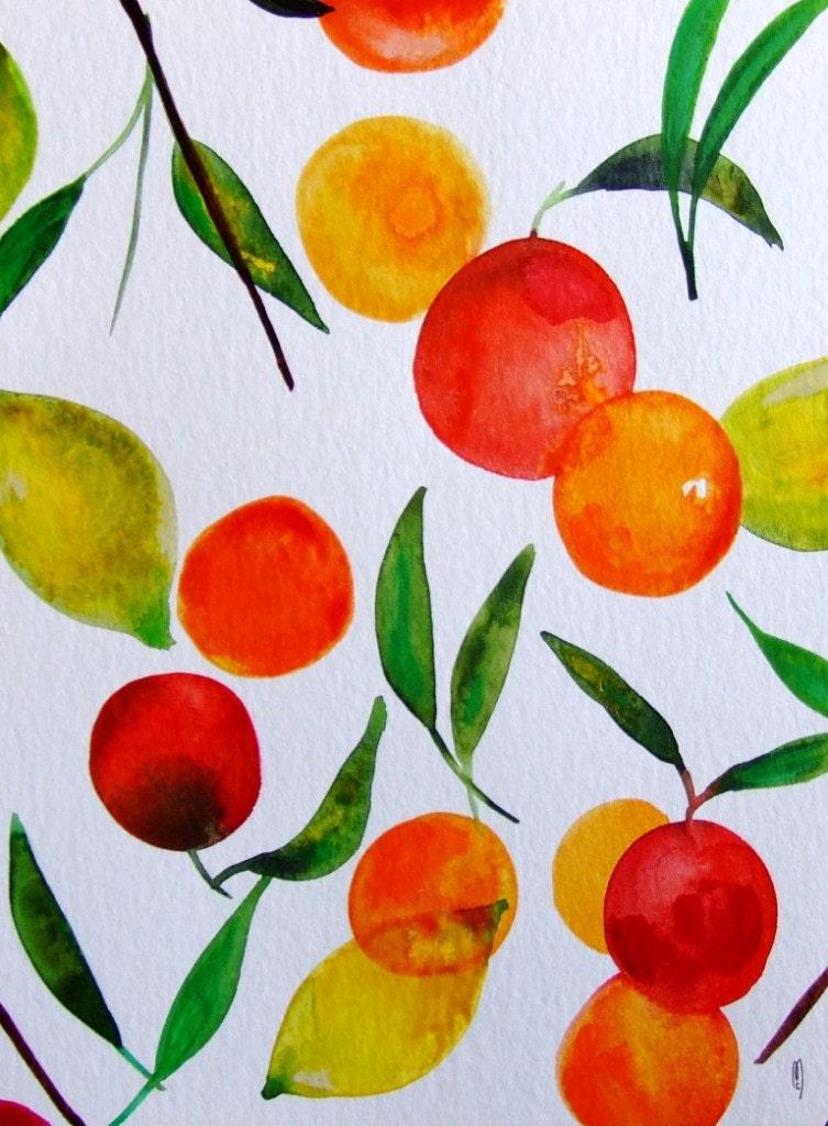 Https Etsy Com Listing 216083270 Fruits Wall Art Fruits Watercolor Citrus