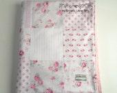 Minky Baby Girl Patchwork Blanket Quilt Royal Princess Tanya Whelan Slipper Roses Pink White 2 Sizes--Made to Order