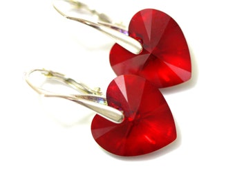 Red Heart Earrings Swarovksi Heart Crystal Heart Earrings Red Earrings Heart Jewelry Valentine's Gift Leverback Earrings Lightweight SI37
