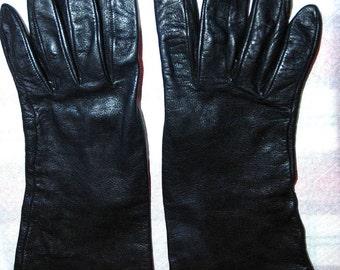 Vintage Black LAMBSKIN GLOVES Neiman Marcus Silk Lined LG
