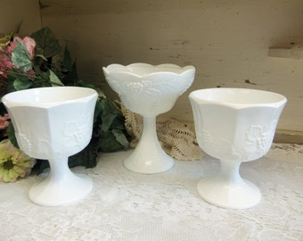 3 White or Milk Glass Open Compote Vases Planters Colony Glass Harvest Pattern B977