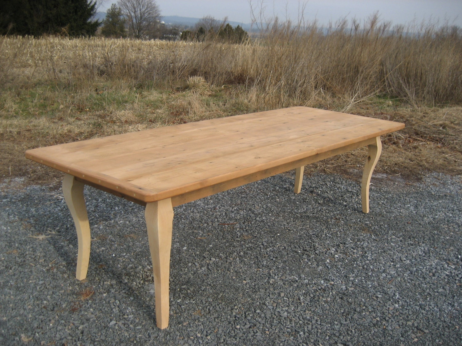 Reclaimed pine thick table with cabriole style by oldbarnstar1 for 65 farmhouse table