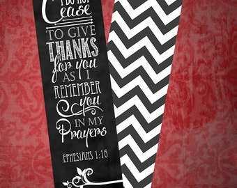 Bookmarks (set of 5) - Ephesians 1:16 Chalkboard Style (two-sided)