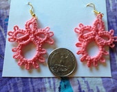 Springtime tatted statement earrings -- coral