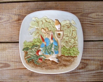 Beatrix Potter Plate | Peter Rabbit Plate by Beswick | Easter Bunny Children's Plate | Hand Painted in Box | Wall Plaque | Baby Room Decor
