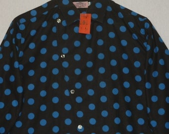 NOS / 1980s Shirt / M / Polka Dot / New Wave / Punk / Rockabilly / 1980s Vintage Mens Shirt / New Wave Shirt / Trash And Vaudeville / Goth