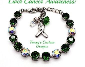 Stunning LIVER CANCER AWARENESS Swarovski Elements Bracelet