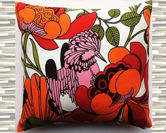 """Pillow Pink Bird 1970s Fabric Orange and Red Tropical 16"""" Square"""