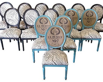set of french louis dining chairs painted in aqua and black upholstered in burlap and zebra print upholstery fabric - Upholstery Fabric For Chairs