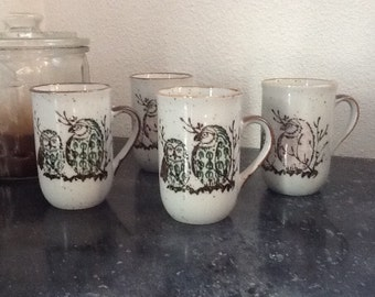 Vintage Owl Stoneware Coffee Mugs Coffee Cups Set of Four