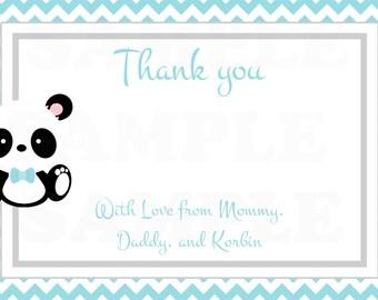 Its a Boy Baby Panda Teal Chevron Baby Shower Thank you card- DIY Printable File
