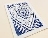 HEART - choose your color - 5x7 / custom art print / block print, linocut printmaking / geometric / love art