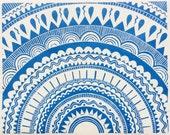linocut - SUN - 8x10 art / printmaking / block print / blue / geometric art / mandala / sun, star