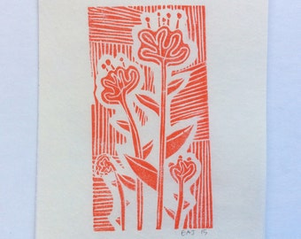 linocut - FLOWERS - 4x6 / printmaking / block print / nature art / ochre, red-orange / wildflowers