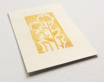 linocut - FLOWERS, yellow - 4x6 / printmaking / block print / nature art / flower print / gold, yellow-orange