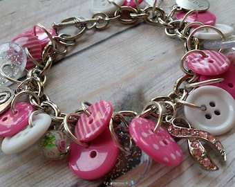 Silver Plated Breast Cancer Awareness Charm Bracelet