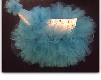 Teal Tutu and Birthday hat