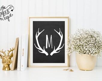 Deer Antler, Monogram Printable, Chalkboard, No. 404