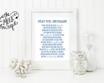 INSTANT DOWNLOAD, Prayer for Israel, Peace in Jerusalem, Scripture Art, No. 522