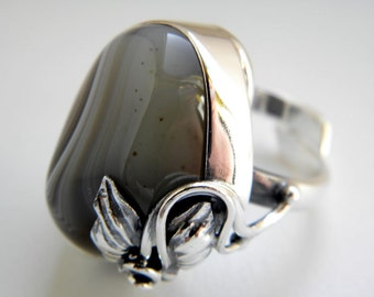 Grey agate sterling silver ring - adjustable