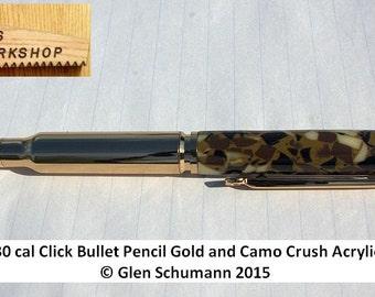 Bullet Pencil Handmade replica 30 cal Gold and Camo Crush