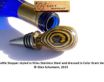 Wine Bottle Stopper Stainless by Niles Color Grain Veneers