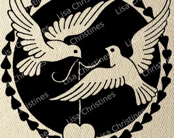 Valentine Illustration, Valentine Doves, Instant Download, Clipart, Digital Transfer Image for Papercrafts, Pillows, Fabric, Iron on 333