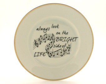 SALE Altered Vintage Plate Life of Brian Always Look on the Bright Side of Life Monty Python Song Porcelain Decor Golden Rim Sugarwhite