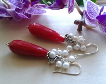 Red jade earrings, sterling silver jewelry