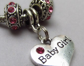 Baby Girl Pink European Charm Beads Trio For All Large Hole Charm Braceletsaby Shower Gift For New Moms And Expecting Moms