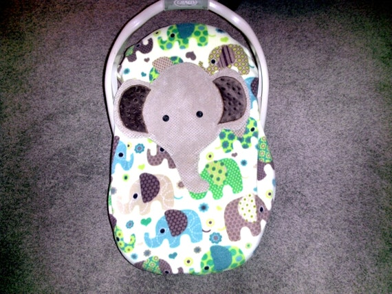 Appliqued Elephant Infant Baby Carrier Cover Car Seat By