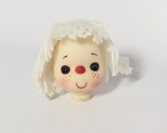 Yarn Doll Head no Hands 3 inches White for Doll Repair or Doll Making Craft Supplies