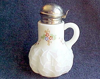 Antique Syrup Jug - White Opaque Milk Glass - Hand Painted - ALBA Pattern - Dithridge Glass - 1890s EAPG - spider web pressed Syrup Bottle