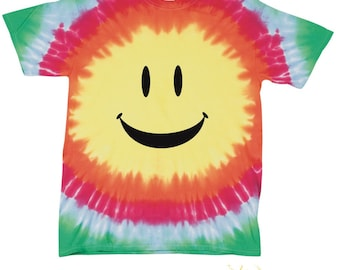 Big Happy Smiley Face Youth Tie-Dye Shirt