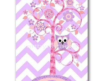 Pink and purple Baby Room Decor Baby Girl Nursery Art Decor Baby Nursery Decor Kids Wall Art Kids Art Tree nursery Baby Girl Print