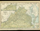 Vintage Map of Virginia From 1931 Original