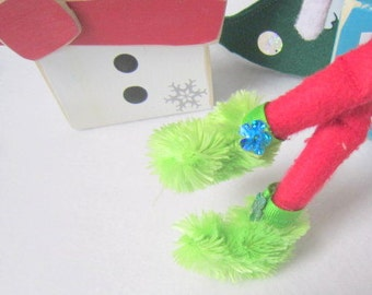 Fuzzy green slippers for Elf Doll