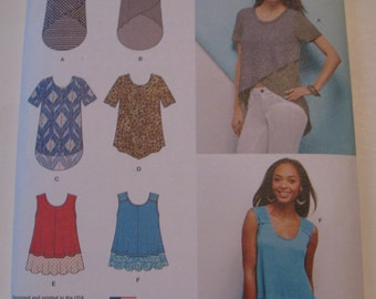 Simplicity Sewing Pattern 1160A Misses' Knit Tops Size XXS-XXL New and Uncut Pattern