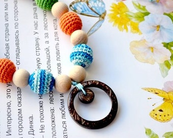 Breastfeeding necklace with ring,Bright Teething necklace,Nursing necklace,Mommy bead,Coconut ring,Crochet Necklace, Eco,Multicolor colorful