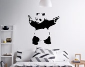 Wall Art Panda with two guns by Banksy vinyl wall decal alternative decor for a girl's room or a baby's nursery (ID: 111059)