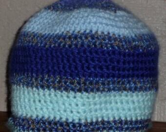 Shades of Blue Bold Simple Stripes shades  crochet beanie hat Handmade